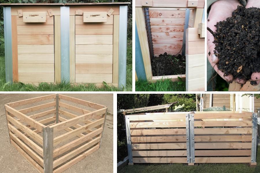 Komposter in verschiedenen Größen und Formen aus Lärchenholz